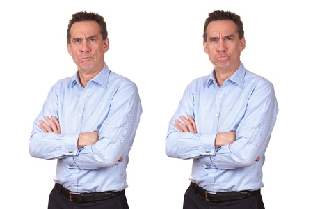 Attractive Middle Age Man in Blue Shirt with Grumpy Unhappy Expression Two Ways