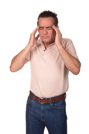 muscle tension: Middle Age Man with Headache Holding Head in Pain