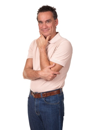 Attractive Smiling Middle Age Man with Hand to Chin in Thoughtful Pose Stock Photo - 10223439