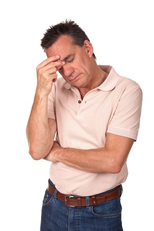 Anxious Worried Stressed Middle Age Man with Hand to Head Pinching Nose