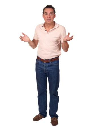 Full Length Portrait of Surprised Shocked Amazed Middle Age Man Holding Up Hands Stock Photo