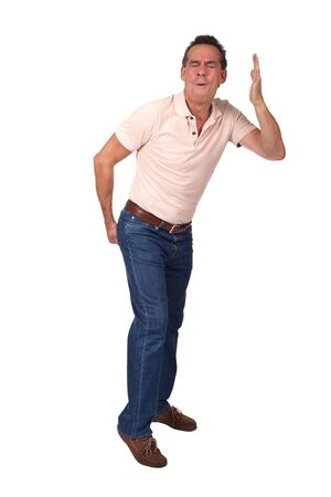 Man making rude gesture indicating bad smell and touching backside Stock Photo - 10383199