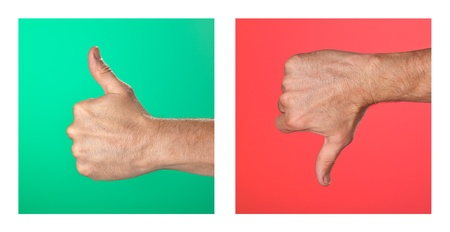agree: Pair of Thumbs up and Thumbs Down Signs on Green and Red Background Stock Photo