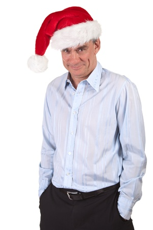 Handsome Smiling Business Man in Santa Christmas Hat with Impish Grin Stock Photo - 10900838