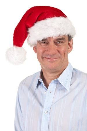 Headshot Portrait of Smiling Handsome Man in Christmas Santa Hat Stock Photo - 11182916