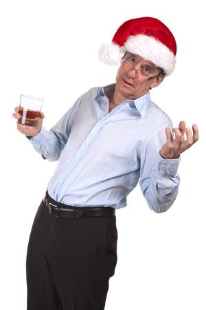 Drunk Man in Christmas Santa Hat holding Drink
