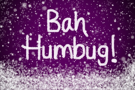 Bah Humbug Christmas Message on Purple Snow Background photo