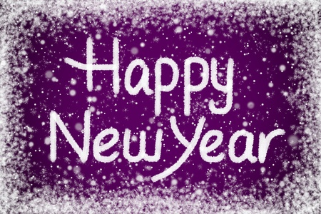 Happy New Year Message on Purple Snow Background Stock Photo