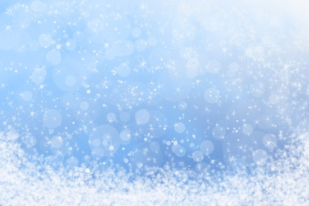 christmas snow: Winter Blue Sparkly Sky and Snow Background