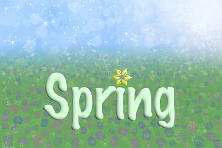 Pretty Spring Background Blue Sparkly Sky Meadow Grass Flowers Text photo