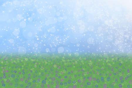 Pretty Spring Background Blue Sparkly Sky Meadow Grass Flowers photo