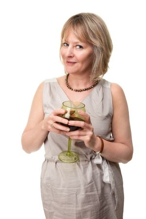 Attractive Smiling Mature Woman Holding Wine Glass Isolated photo