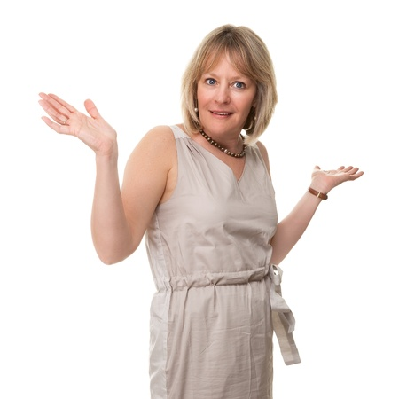Attractive Smiling Mature Woman Holding Hands Up in Surprise Isolated