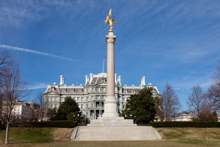 First Divison Monument and Eisenhower Executive Office Building Washington DC in Winter photo