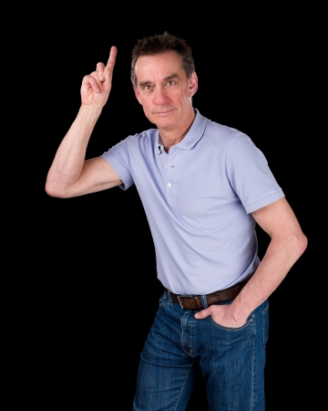 Handsome Middle Age Man Hands Pointing Upwards Black Background photo