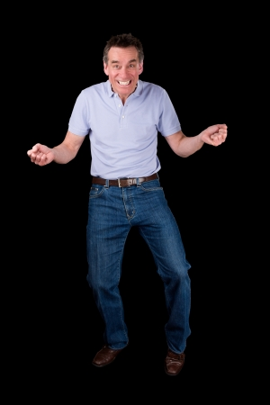 cheesy grin: Funny Middle Age Man Dancing with Cheesy Grin Black Background