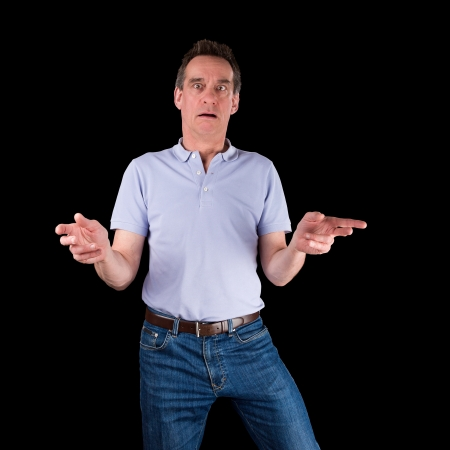 Shocked Surprised Confused Middle Age Man Hands Raised Black Background photo