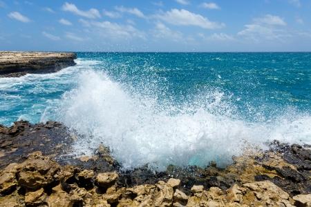 Waves Crashing on Rocky Coastline Devil Stock Photo - 21447929