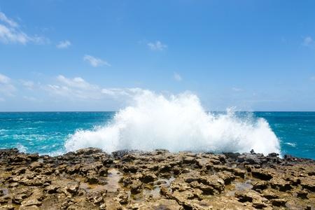 Waves Crashing Over Limestone Ocean Coastline Devil Stock Photo - 21693717