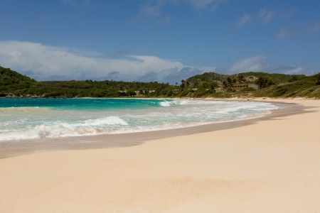 Beautiful Golden Sandy Beach at Half Moon Bay Antigua in the Sunshine Stock Photo - 22443258