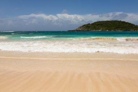 Atlantic Waves on Beautiful Golden Sandy Beach at Half Moon Bay Antigua Stock Photo - 22443260