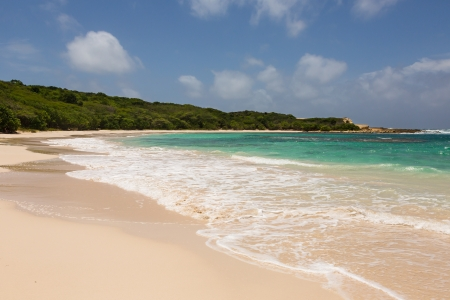 Beautiful Golden Sandy Beach at Half Moon Bay Antigua in the Sunshine Stock Photo - 22443261