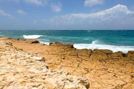 Rocky Limestone Atlantic Coastline at Half Moon Bay Antigua Stock Photo - 22443263