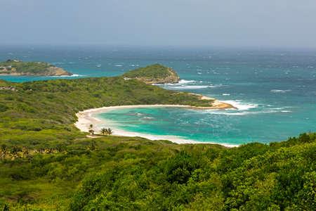 Tropical Deserted Beach in Half Moon Bay Antigua on Sunnay Day Stock Photo - 22443267