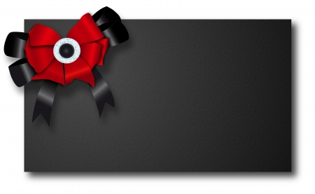 blank black paper with realistic red bow with black ribbon