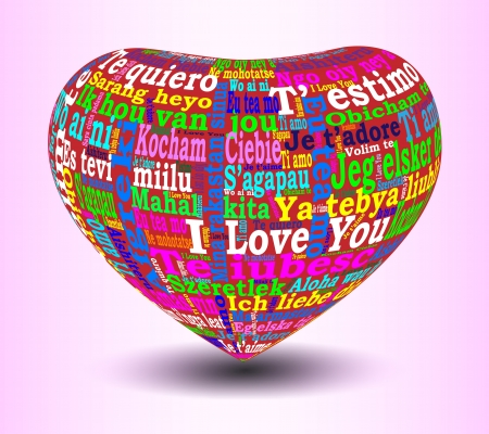 multilingual: 3D red heart with multicolored I love you in many languages on a pink gradient background