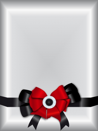 Gradient silver invitation template with red and black ribbon bow Illustration