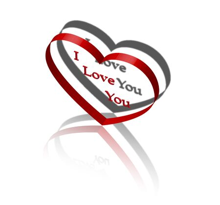 3d red heart with shadow and reflection and I love you in the middle