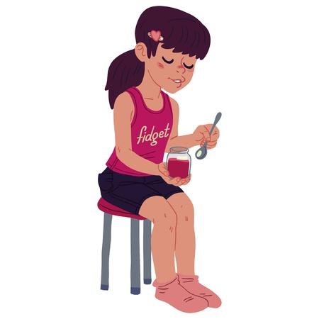 Girl eating jam Stock Vector - 16925145