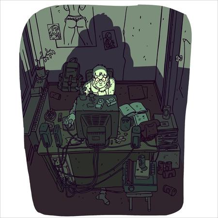 コンピューターを持つ若者