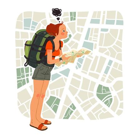 Fille avec la carte touristique de la ville