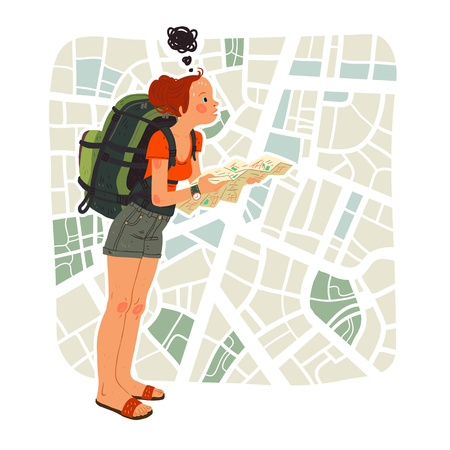 hiker: Tourist girl with map in the city