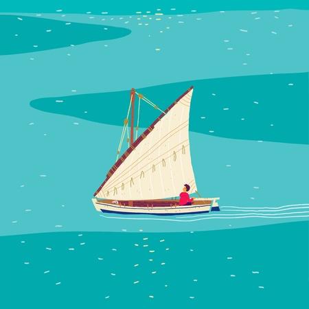 open sea: Fisherman sailboat in open sea Illustration