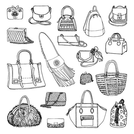 Vector illustration of woman fashion collection of bags. Hand-drown objects sketch. Black and white set.