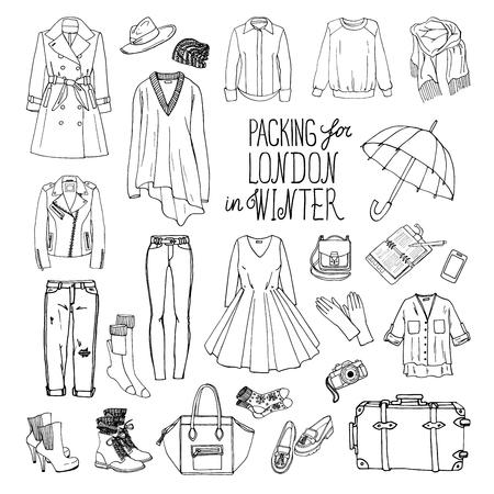 americana: Ilustración del vector de embalaje para Londres en invierno. Bosquejo de la ropa y accesorios de diseño. Conjunto de la colección de moda de mujer en blanco y negro. el equipaje de viaje de invierno.