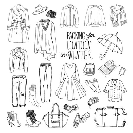 leather coat: Vector illustration of packing for London in winter. Sketch of clothes and accessories for design. Black and white woman fashion collection set. Winter travel luggage. Illustration