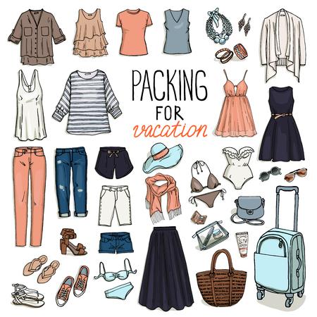 夏旅行の荷物。休暇のためのパッキング。女性服セット。ベクトルは、オブジェクトのスケッチを手溺れます。ファッションのコレクション。 写真素材 - 51444353