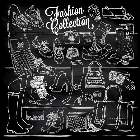 stilletto: Hand drawn vector sketch of shoes bags and female fashion accessories. Side view of shoes, bags, glasses on shelf. Doodle illustration on chalkboard.