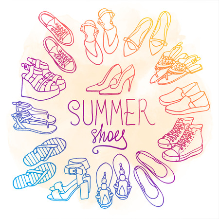 Vector illustration of female shoes, boots set. Hand-drown footwear illustrations. Watercolor summer color fashion collection.