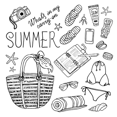 Summer set for beach. Vector illustration of holiday vacation woman luggage. Vector hand-drown objects for summer. Black and white.