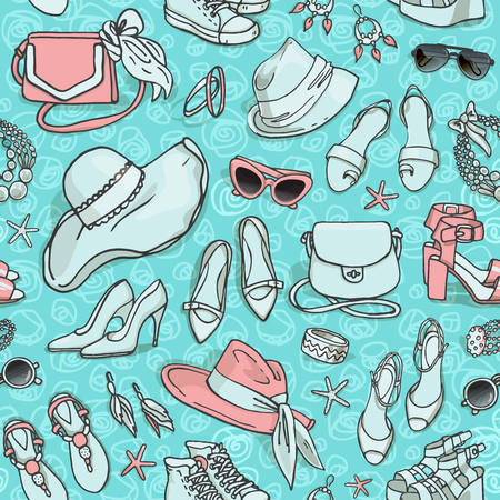stilletto: Hand drawn vector seamless pattern of shoes bags and female fashion accessories turquoise color Illustration