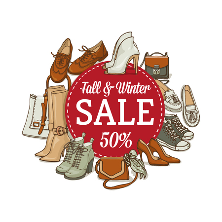 Vector illustration of female shoes and bags sale banner. Hand-drown fashion objects illustrations. Fall winter fashion collection