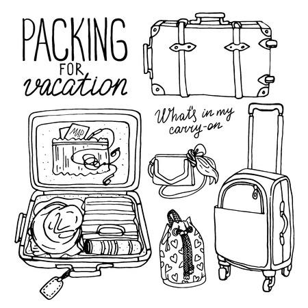 Vector illustratie set met tas, handtas, verkeer boomstammen, rugzak, koffer. Verpakking voor vakantie. Zwart en wit hand verdrink doodle schets