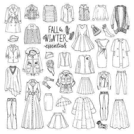 Ilustración vectorial de la caída de la mujer y la colección de moda de invierno de ropa. Ahogar a mano objetos boceto con abrigos, vestidos, faldas, pantalones, chaqueta, sombreros, guantes, calcetines. Conjunto blanco y negro. Ilustración de vector