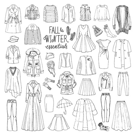 Vector illustration of woman fall and winter fashion collection of clothes. Hand-drown objects sketch with coats, dresses, skirts, jacket, trousers, hats, gloves, socks.  Black and white set.