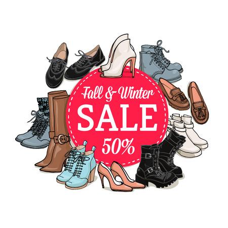 Illustrazione vettoriale di scarpe femminili e borse di vendita banner. Hand-annegare moda oggetti illustrazioni. Autunno collezione di moda invernale Archivio Fotografico - 51444376
